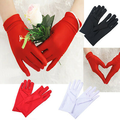 Womens Ladies Bride Wedding Wrist Short Gloves Party Driving Prom Stretch Satin