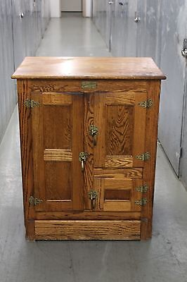 White-Clad Icebox Reproduction Cabinet Storage Chest Vtg Antique Style Furniture