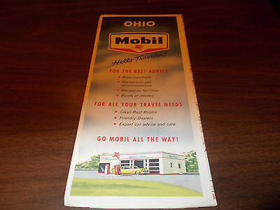 1957 Mobil OHIO Vintage Road Map
