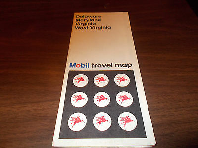 1968 Mobil Delaware/Maryland/Virginia/West Virginia Vintage Road Map