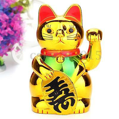 Chinese Lucky Waving Golden Cat Figure with Moving Arm Fortune Wealth Decoration