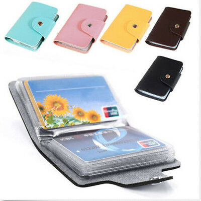 Slim Pu Leather Pocket Business ID Credit Card Wallet Holder Bag Case 24 Cards