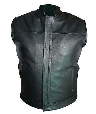New Mens 100% Real Leather All Black Motorcycle Biker Style Vest Waistcoat-M01