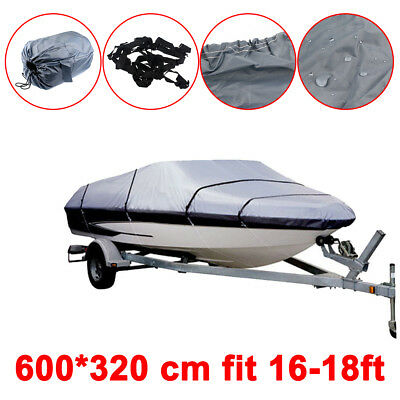 16 17 18ft Waterproof Heavy Duty Speedboat Boat Cover Match Fish-Ski V-Hull