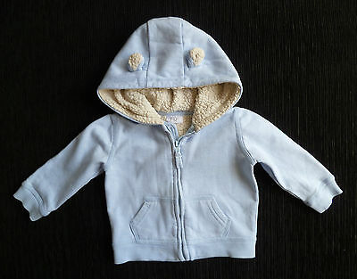 Baby clothes BOY 9-12m soft blue zip jacket fleecey lined hood 2nd item post-fre