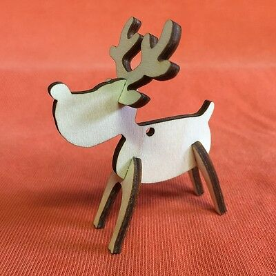 10 RUDOLPH REINDEER n40 hanging PLAIN WOODEN BLANKS SHAPE CHRISTMAS CRAFT TAG