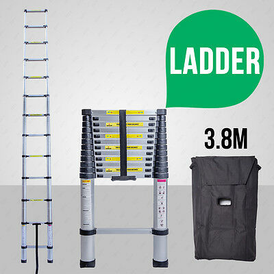 3.8M Multi-Purpose Aluminium Telescopic Ladder Extension Extendable Steps W/ Bag