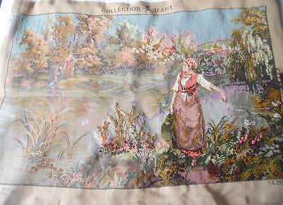 Half Worked Large Vintage Printed Tapestry Canvas Women Fetching Water No Wools