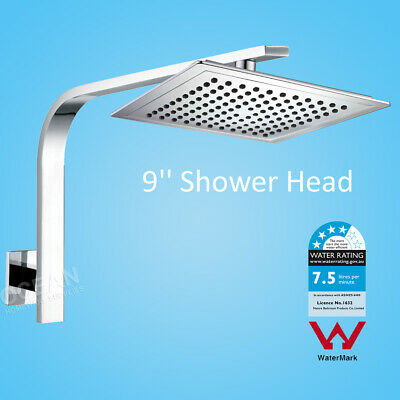 WELS Bathroom Square Rainfall Shower Head Rose With Cubic Wall Gooseneck Arm set