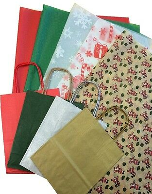 CHRISTMAS XMAS GIFT BAGS WITH PATTERNED TISSUE GIFT WRAPPING SHEETS 35x45cm