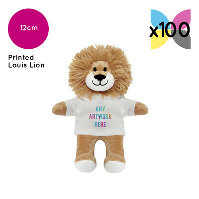 100 Personalised Promotional Soft Toys Louis Lion Teddy Gifts Your Logo Printed!