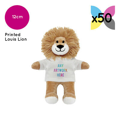 50 Personalised Promotional Soft Toys Louis Lion Teddy Gifts Your Logo Printed!