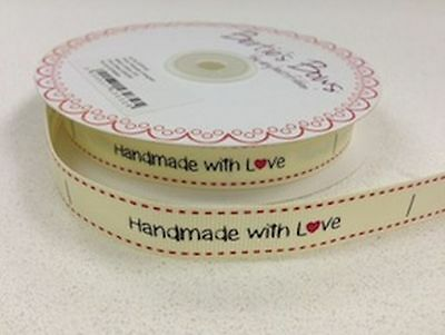 Handmade with Love Sewing Labels - Cream Ribbon Label Tags Gifts - Per 3 Metres