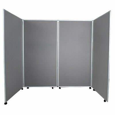 Mobile Economy Display 4 Panel Screen Divider Partition Office - Grey Fabric