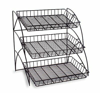Wire Shelving Display Rack 3-Tiered for Tabletop Black