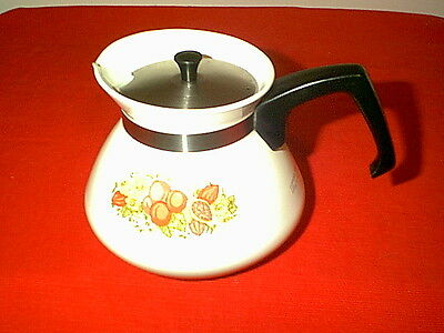 Nice Vintage Corning Ware Spice Of Life 6 Cup Tea Pot With Stainless Steel Lid