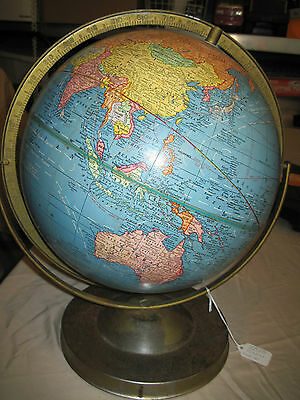 """Crams Imperial 12"""" world globe on metal stand, 16"""" tall from base"""
