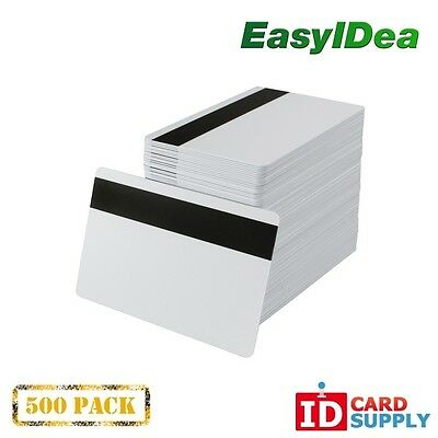 Pack of 500 White CR80 Standard Size PVC Cards with Hi-Co Magnetic Stripe by eas