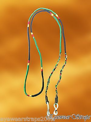 NEW Hand Crafted Indian Rasta Colours Glasses Sunglasses Strap Band Cord Holder