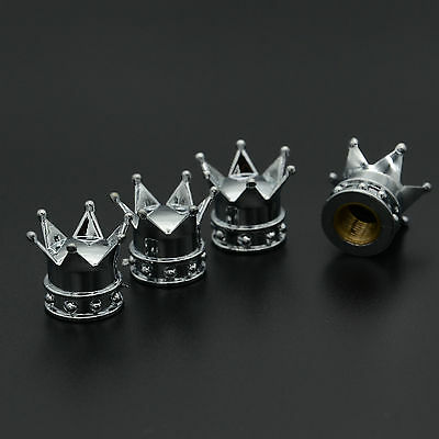 4x Car Chrome King Hat Crown Tire Wheel Stem Air Valve Caps Cover Set For Ford