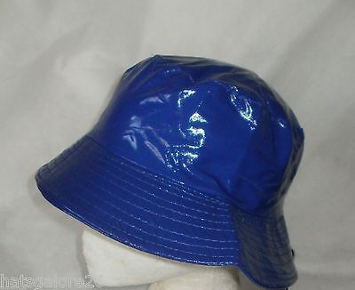 LADIES RAIN HAT SHOWERPROOF PLASTIC Red Black White or Royal Blue rain hat