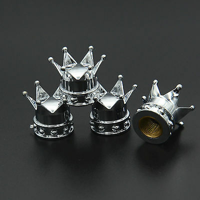 4x Chrome Crown Tyre Tire Wheel Valve Stems Air Dust Covers Cap Set For Vauxhall