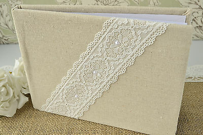 Hessian / Linen Fabric Rustic Wedding Guest Book - Lace Ribbon & Pearl Detail