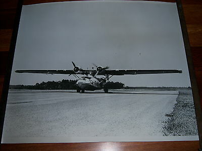 "Lot of 2 LARGE Photographs Of USAF CATALINA Aircraft, Land & Sea, Both 20"" X 23"""