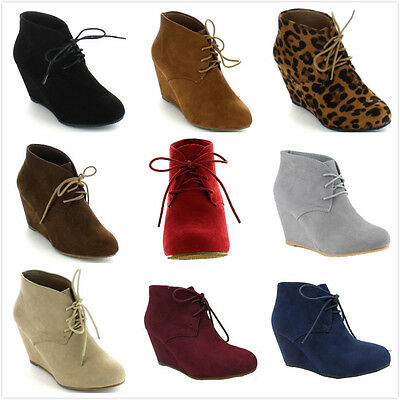 NEW Women's Almond Toe Lace Up High Heel Platform Wedge Ankle Booties Shoes