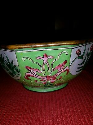 Antique Chinese Cloisonne Enamel Hand Painted Box Trinket Powder Candy 4.5x2inch