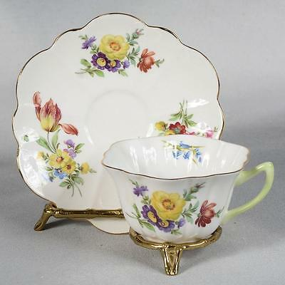 Shelley Teacup & Saucer - Stratford Shape, White With Mixed Floral