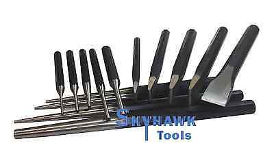 14 Pc Heavy Duty Carbon Steel Punch & Chisel Set Pin Center Taper Punches
