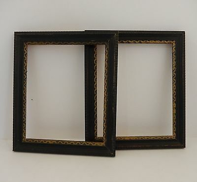 2 Vintage Antique Black & Gold Wood 5x6 Picture Photo Frames