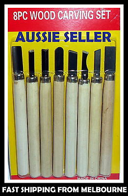 Wood Carving Chisels Set Diy Tool X 8 New Steel Blades Solid Wooden Handles Au