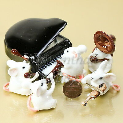 5 Mouse Rat Music Band Set Ceramic Pottery Animal Miniature Figurine