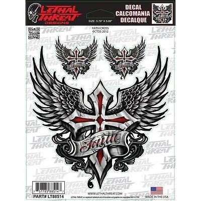 LETHAL THREAT Motorcycle Bike Quad Board PC Decal Helmet Sticker CROSS LT88514