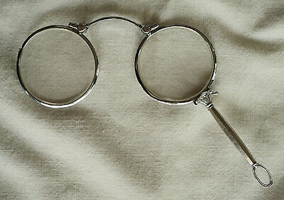 Antichi occhiali a scatto tinta argento Antique lorgnette reading glasses