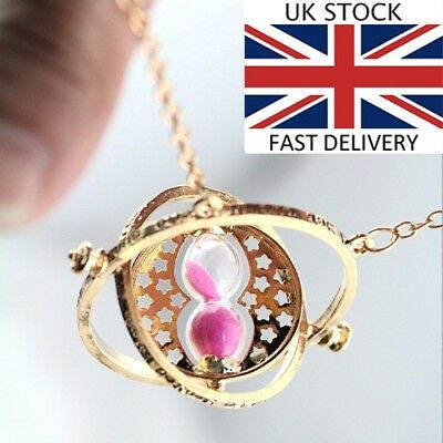 Harry Potter Gold Time Turner Necklace Hermoine Rotating Spins Hourglass PK Ku