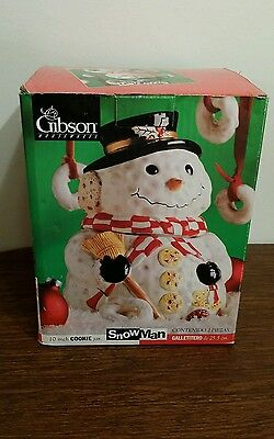 "Vintage Fabulous Gibson Housewares Snowman Cookie Jar 10"" Inch Tall"