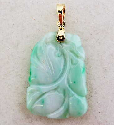 "Vintage? 1.5"" Chinese 14K Gold & Carved White & Green JADEITE Jade Peach Pendant"