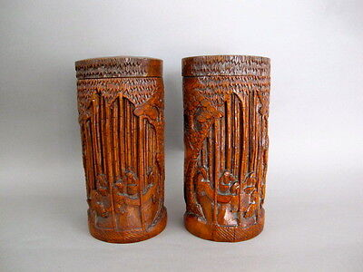 Pair of Finely Carved Bamboo Brush Pots with Lids