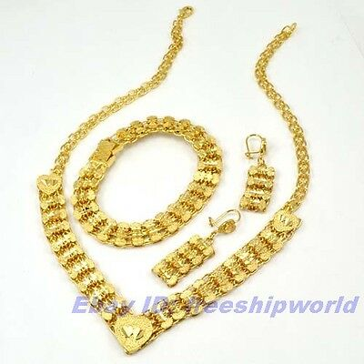 3set Wholesale REAL LUXURY 18K YELLOW GOLD GP STAR SET NECKLACE BRACELET EARRING