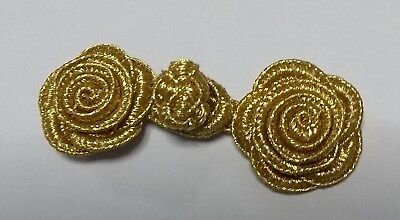 5 Pairs hand stitched Frog Fasteners Closure Button Knots Colour : M Gold  #S19