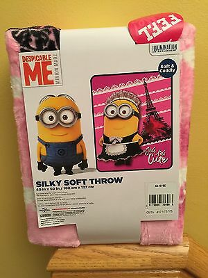 "Despicable Me Minions Silky Soft Plush Throw Pink 40"" x 50"" - NWT"