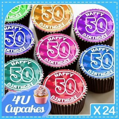 24 X Happy Birthday 50Th Colourful Age 50 Edible Cupcake Toppers Rice Paper C797