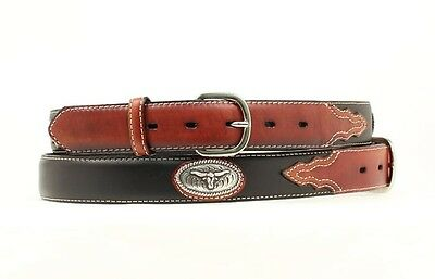 "NOCONA - Boy's Belt 1.25"" - Steer Head Concho - Brown / Black - (N4413201) - New"