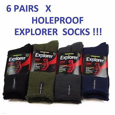 6 Pack Mens Original Holeproof Explorer Wool Blend Socks Black Navy Hiking Work