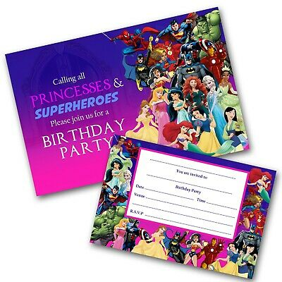 Princess & Superheroes Party Invitations Birthday Invites and Free Envelopes