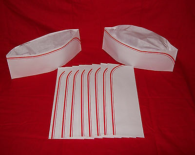 10 NEW RED 50`s Soda Jerk Ice Cream Paper Party Overseas Sailor Costume Hat Cap
