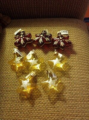 Pier 1 Gold Metalic Christmas Tree Ornaments New Lot of 8